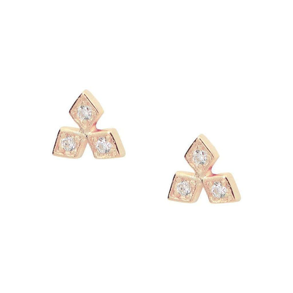 Rose Snow Flake CZ Stud Earrings