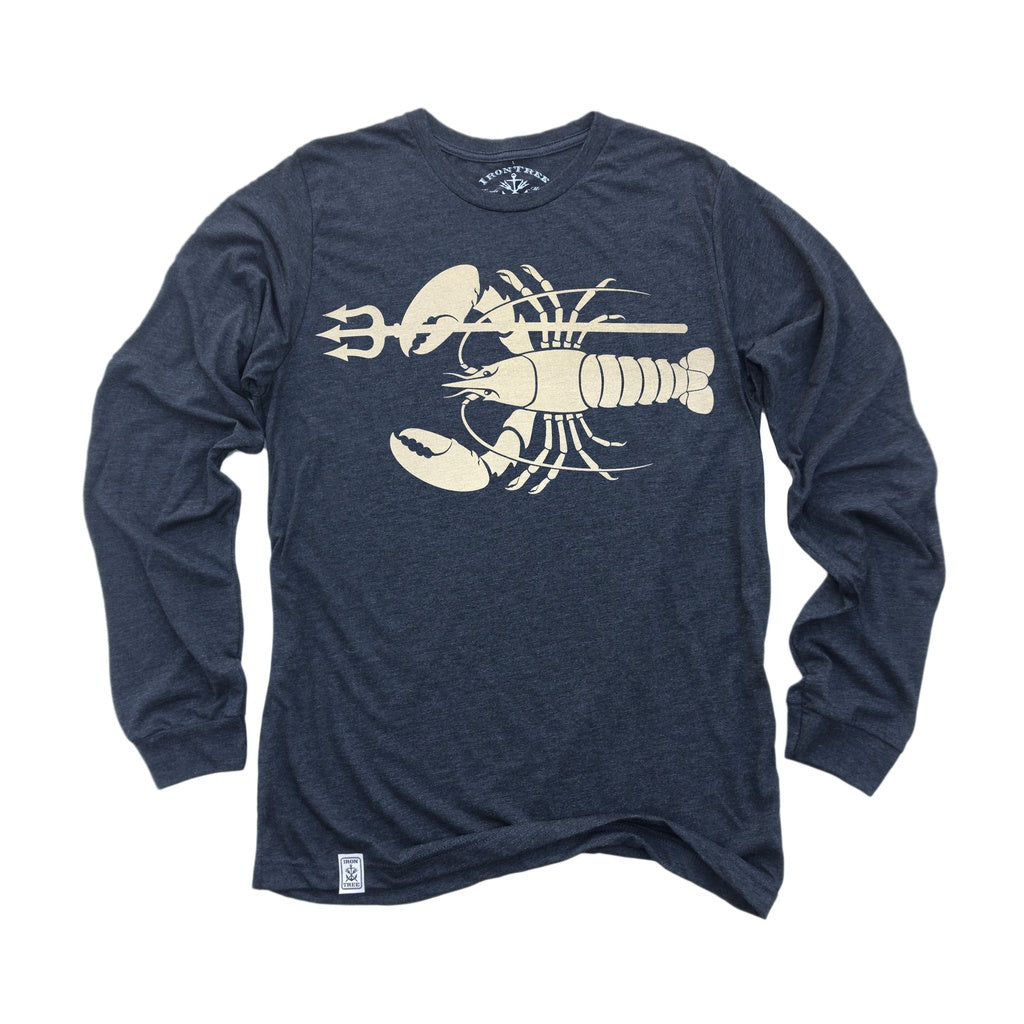 Lobster & Trident: Tri-Blend Long Sleeve T-Shirt in Charcoal-Black