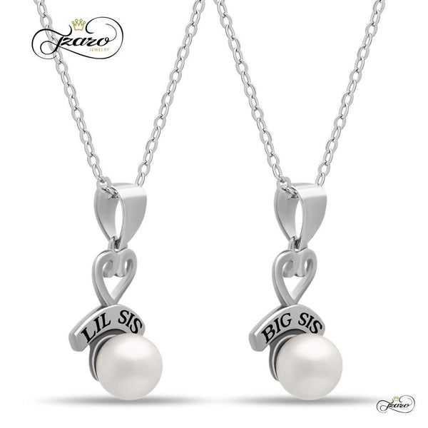Sister Heart Necklace Set for Big Sis Lil Sis, 925 Silver, Silver Plated Necklaces for Sisters