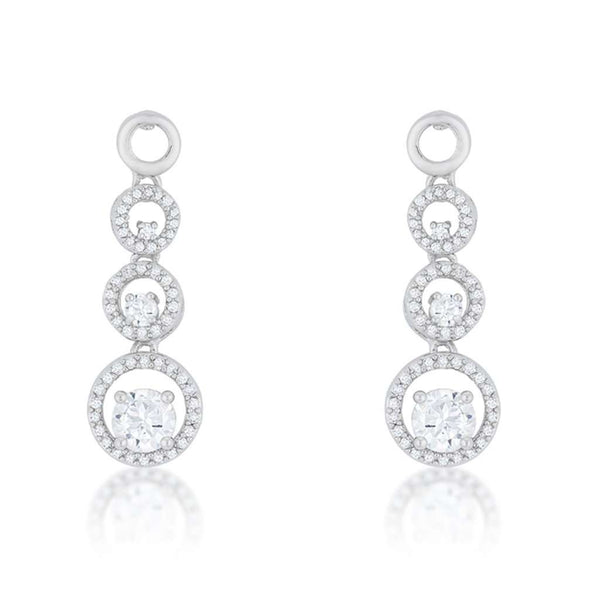 Silver Round CZ Drop Circle Earrings