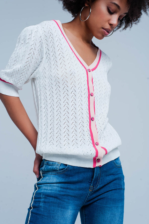 Cream Buttoned Cardigan with Short Sleeves