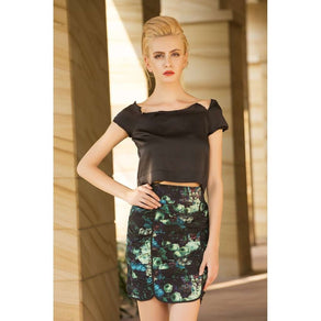 The secret garden ruched floral pencil skirt