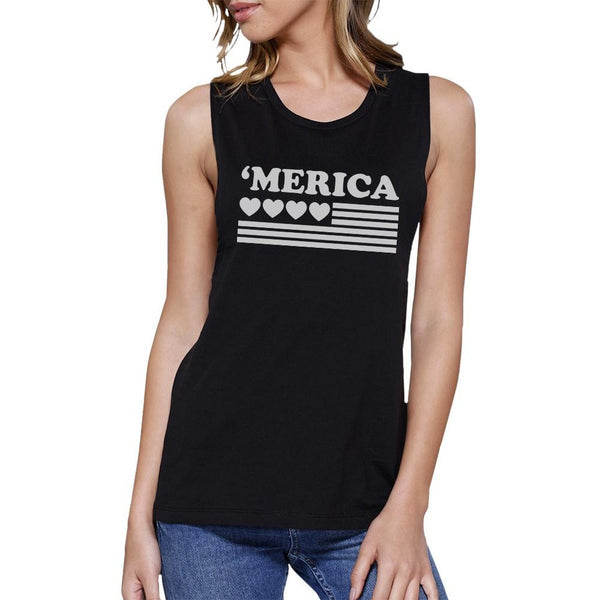 'Merica Womens Black Cotton Muscle Tee American Flag With Heart