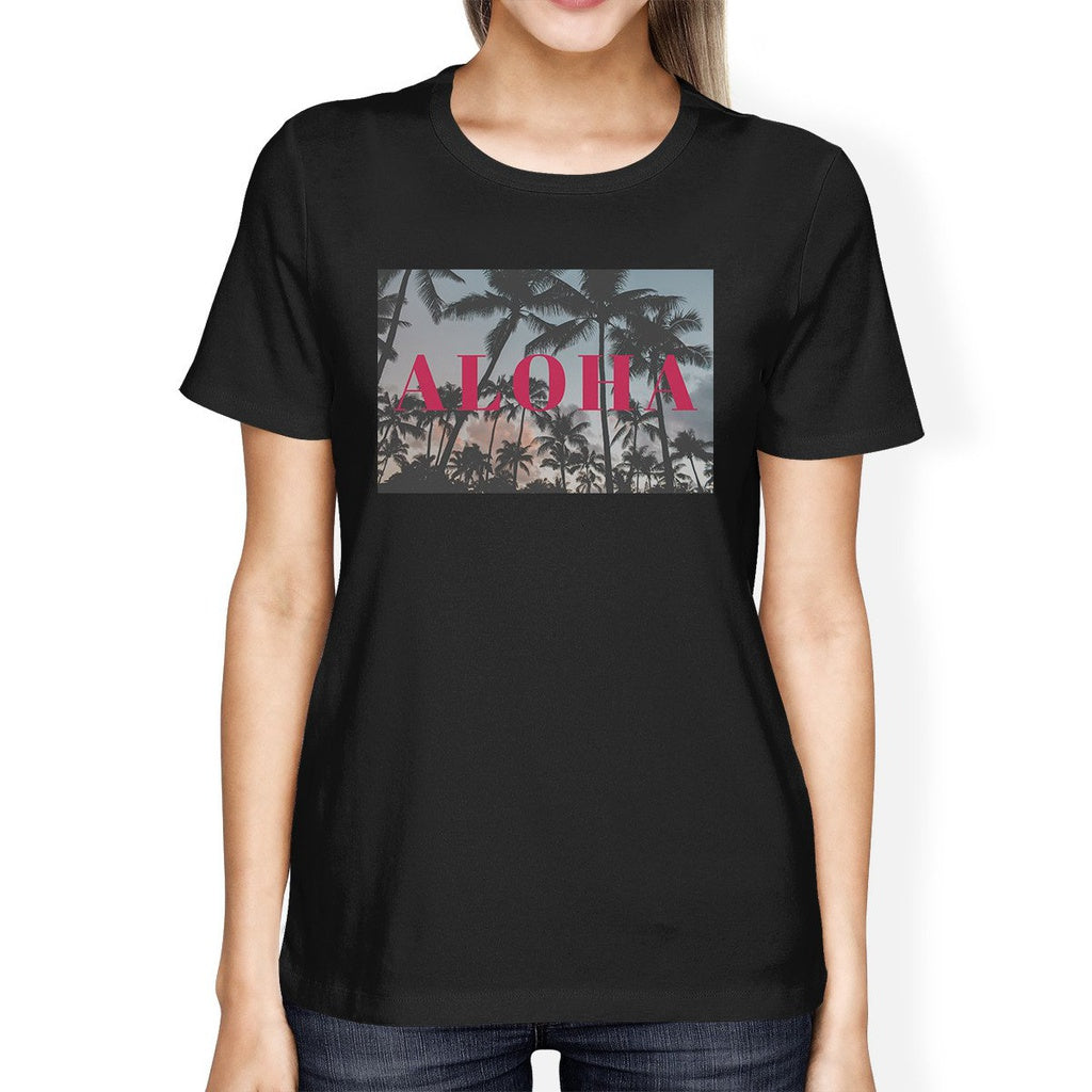 Aloha Hawaii Palm Tree Sunset Womens Black Cool Cotton Tee Shirt