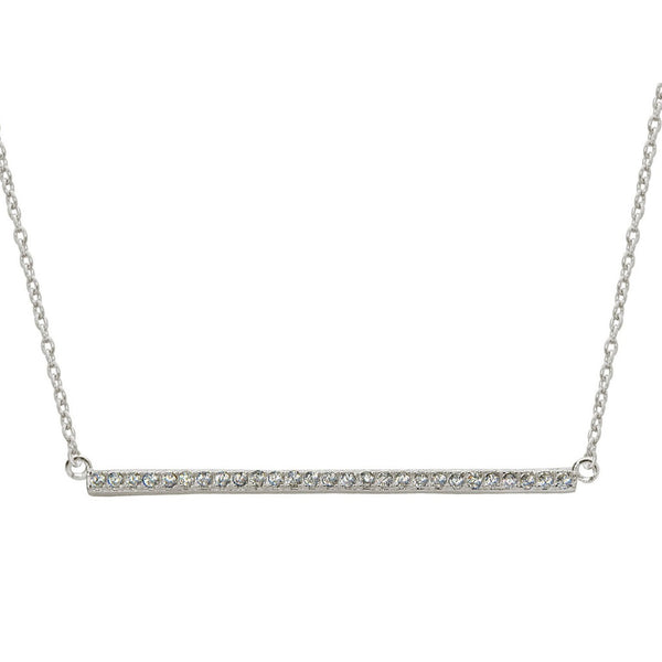 "Mini Sideways Bar Pendant Necklace, 16"" + 1"""