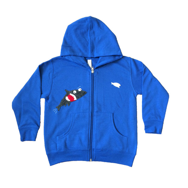 Mi Cielo X Matthew Langille - Shark & Fish -  Royal Blue Kids Zipup Hoodie