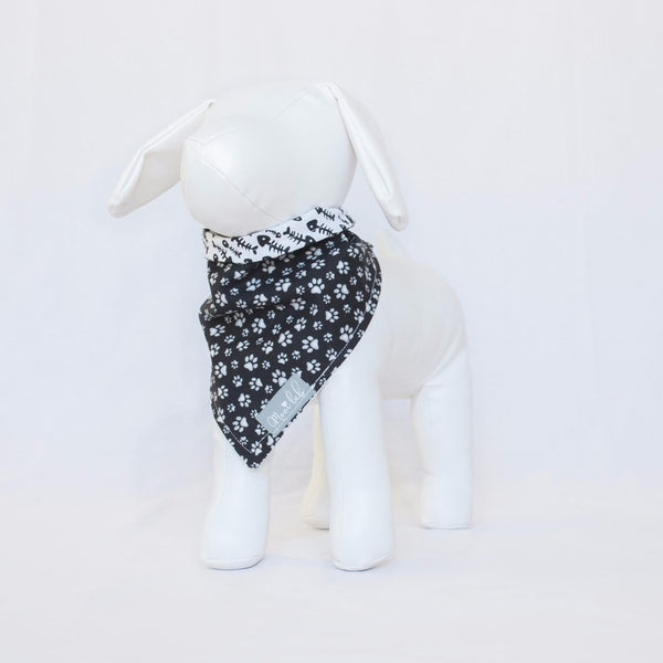 Fish Bones and Paw Prints Reversible Pet Bandana