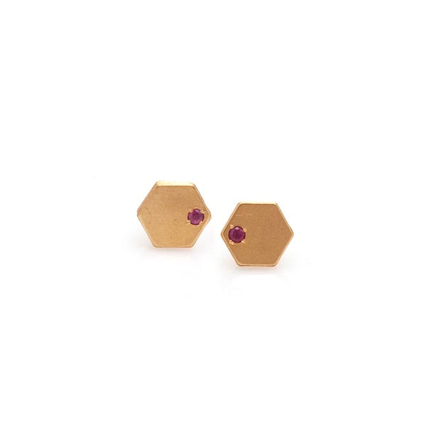 Hexagon Stone Earrings- Gold