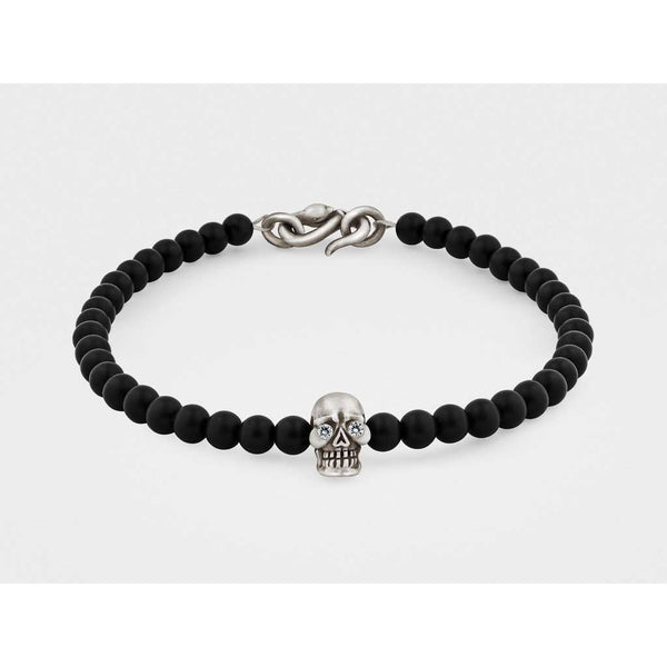 Skull Bracelet in Sterling Silver with Diamond Eyes, Black Onyx and Snake Clasp