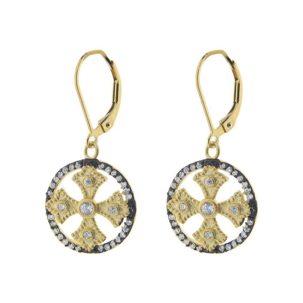 Medieval Sterling Silver Italian Earrings: Satin 18k Gold Plating