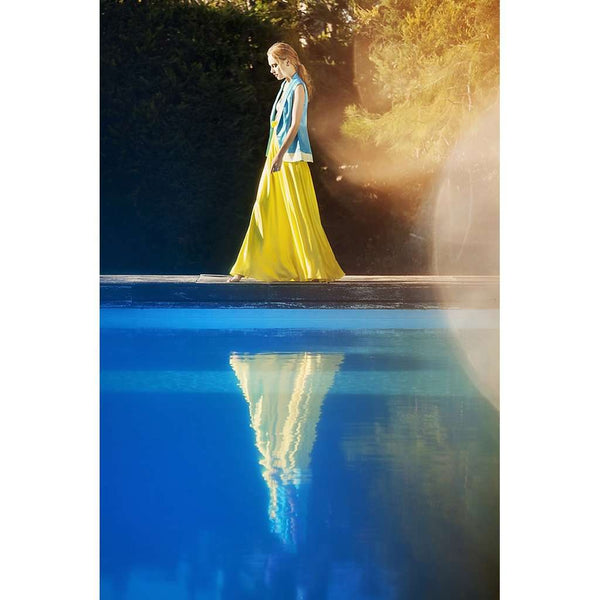 Silk Modal Yellow High Waist Long Skirt