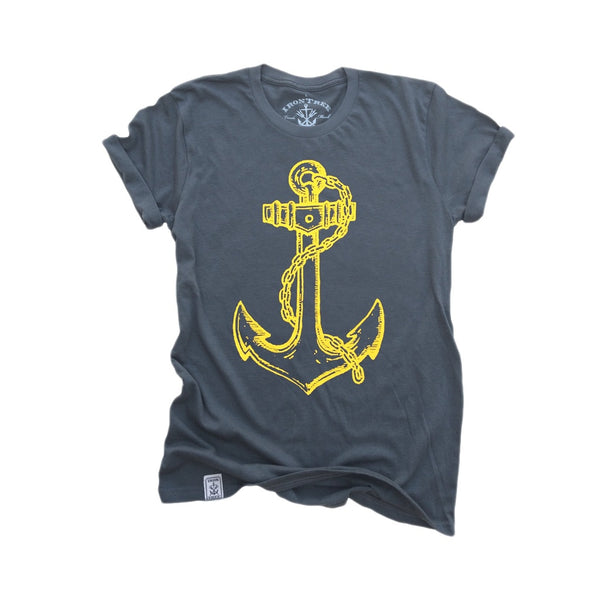 Fouled Anchor: Garment Dyed Fine Jersey Short Sleeve T-Shirt in Asphalt
