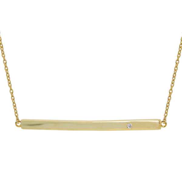 "18k Gold Plated Sterling Silver Sparkling Horizontal Bar Necklace, 15.5"" + 2"""