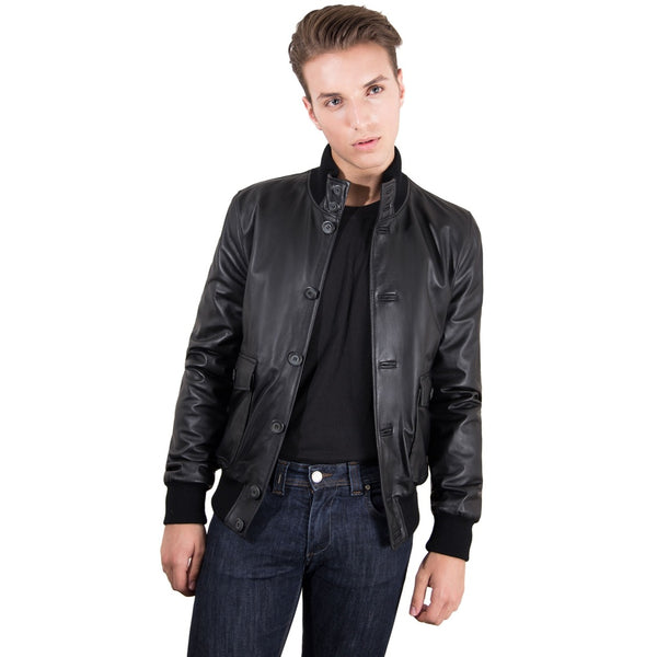 Men's Genuine Leather Bomber Jacket Black Color