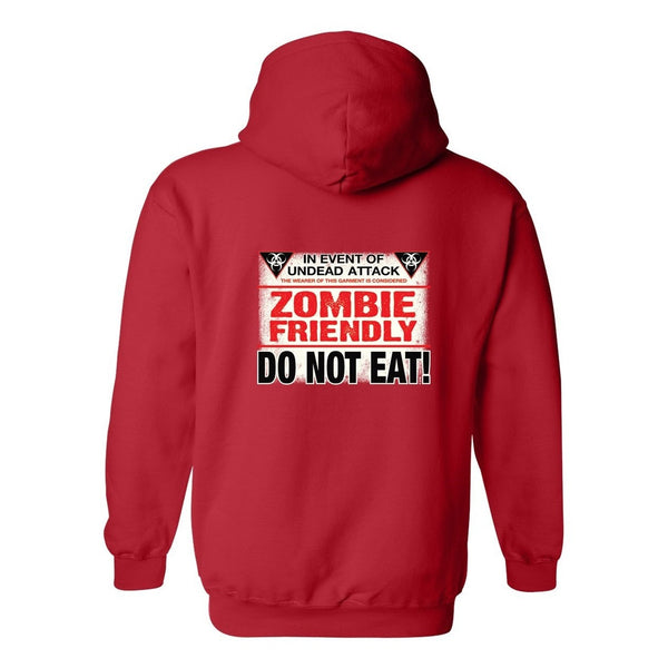 Men's/Unisex Zip-Up Hoodie Zombie Friendly, Do Not Eat! Funny