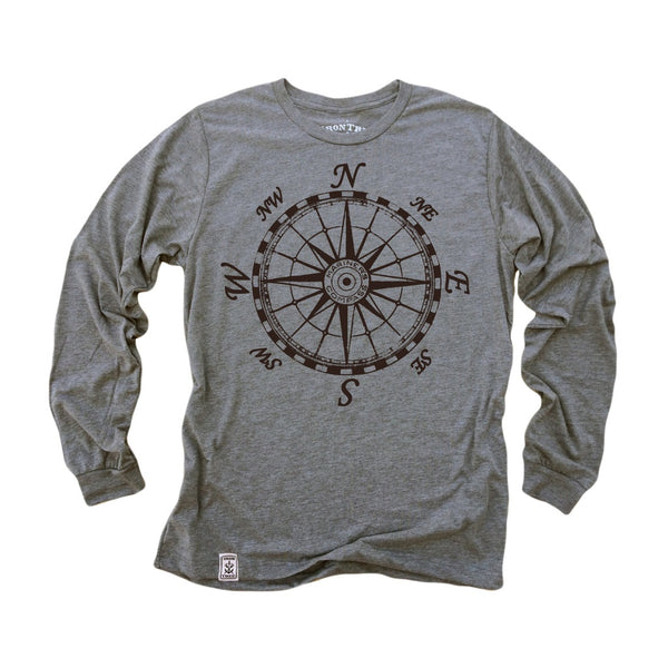 Mariner's Compass: Tri-Blend Long Sleeve T-Shirt in Heather Grey