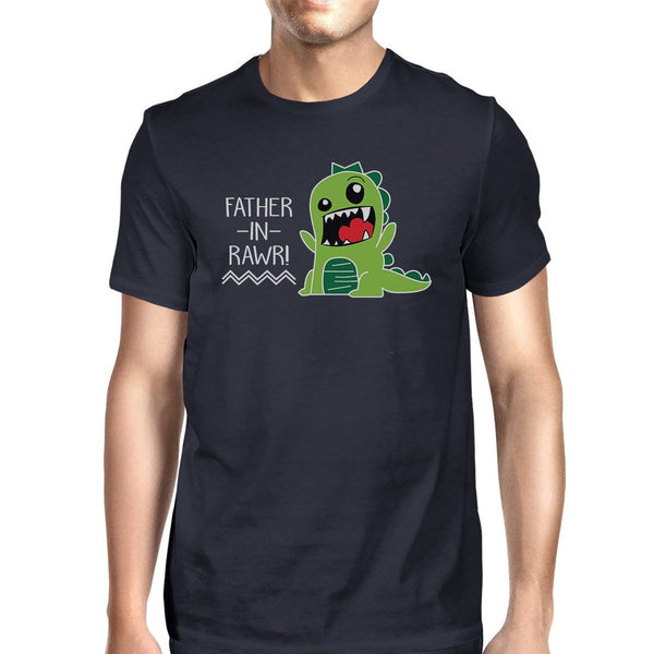 Father-In-Rawr Mens Navy Dinosaur Design T Shirt Funny In Law Gifts