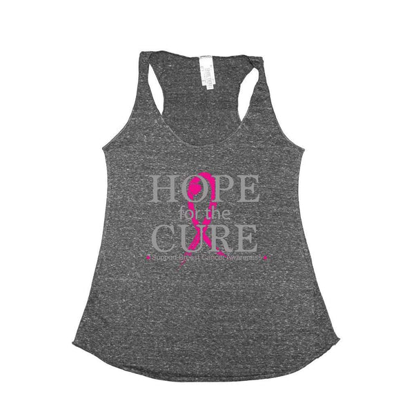 Women's Hope for the Cure Breast Cancer Awareness Tri Blend Tank CHARCOAL
