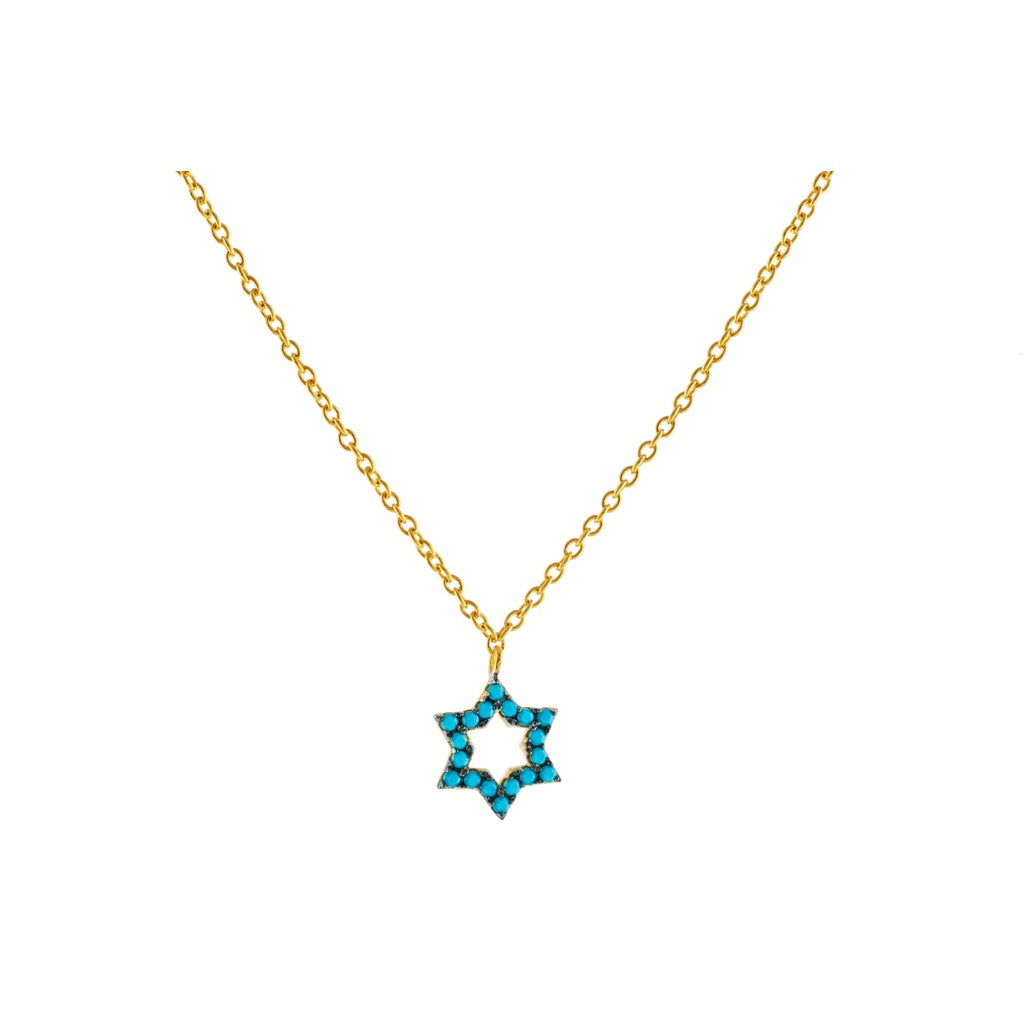 "14k Gold Plated Sterling Silver nano Turquoise CZ Star of David Pendant Necklace, 15.5"" + 1.5"""