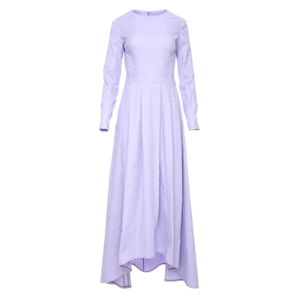 Cosmetic Lavender Maxi Dress With Dip Hem Pleated Skirt