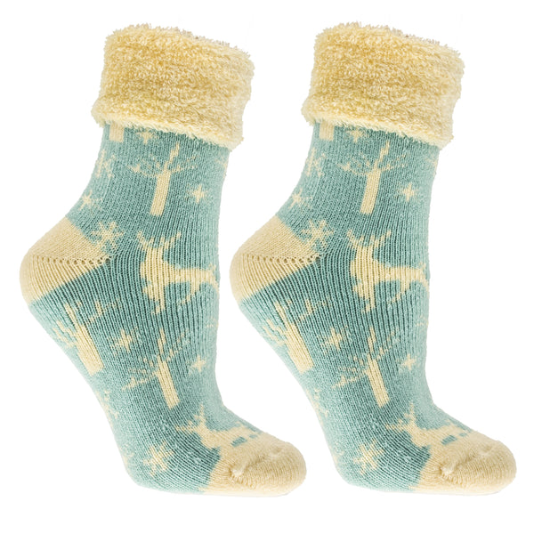 Women's Warm Soft and Fuzzy Cinnamon Infused Chalet Lounge Socks