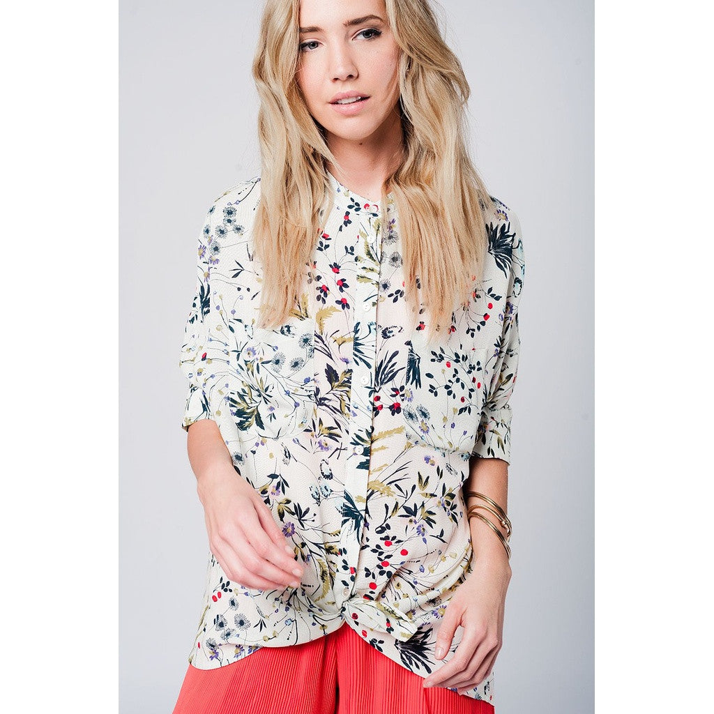 Longline Floral Print Shirt with Pockets - www.ettuet.com