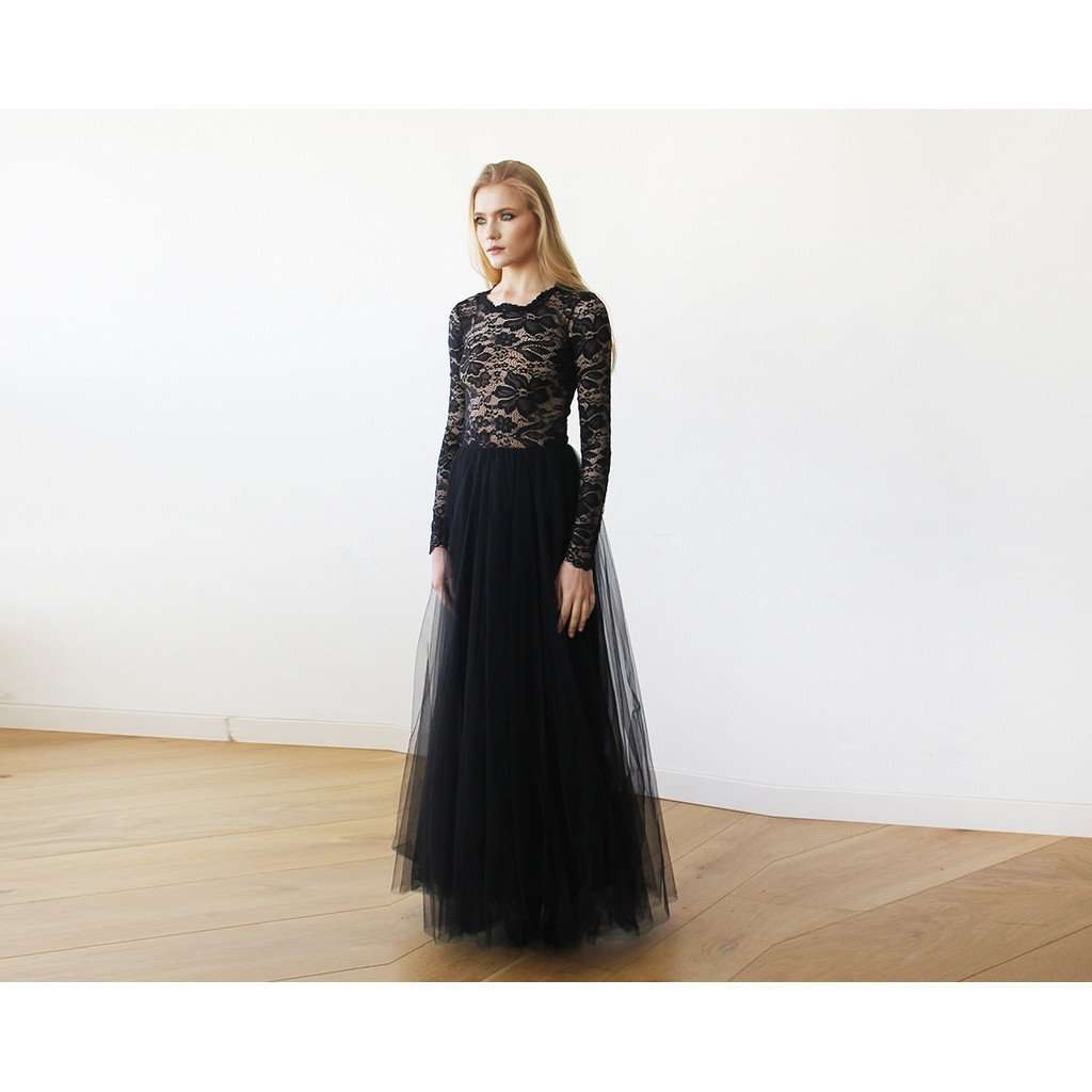 Round Neck-Line Long Sleeves Sheer Black Lace and Maxi Tulle 1152 - www.ettuet.com