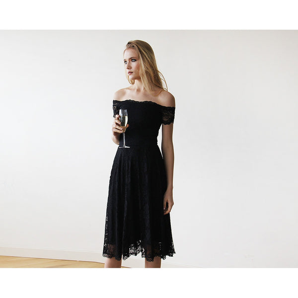 bab7bef47889 Off-The-Shoulder Short Sleeves Black Lace Midi Dress 1158