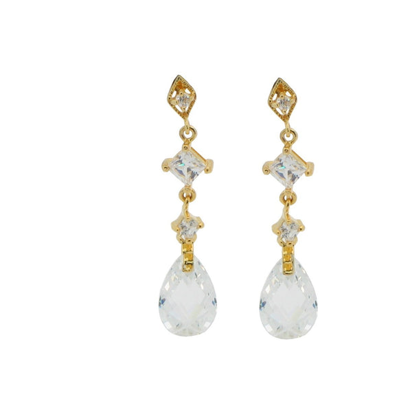 925 Sterling Silver Zirconia Briolette Drop Earrings