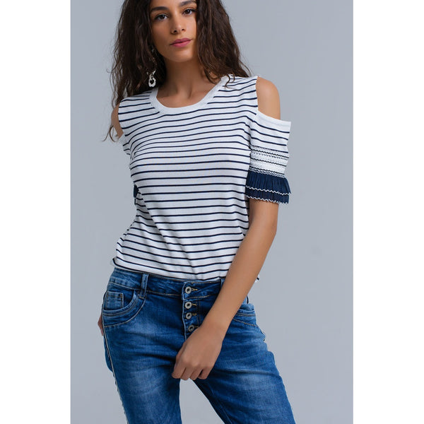 Navy striped sweater with embroidery