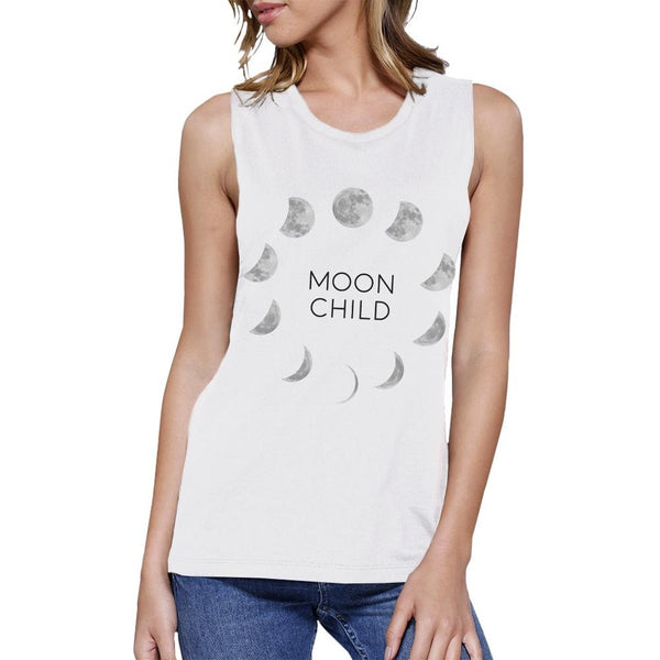 Moon Child Womens White Muscle Top