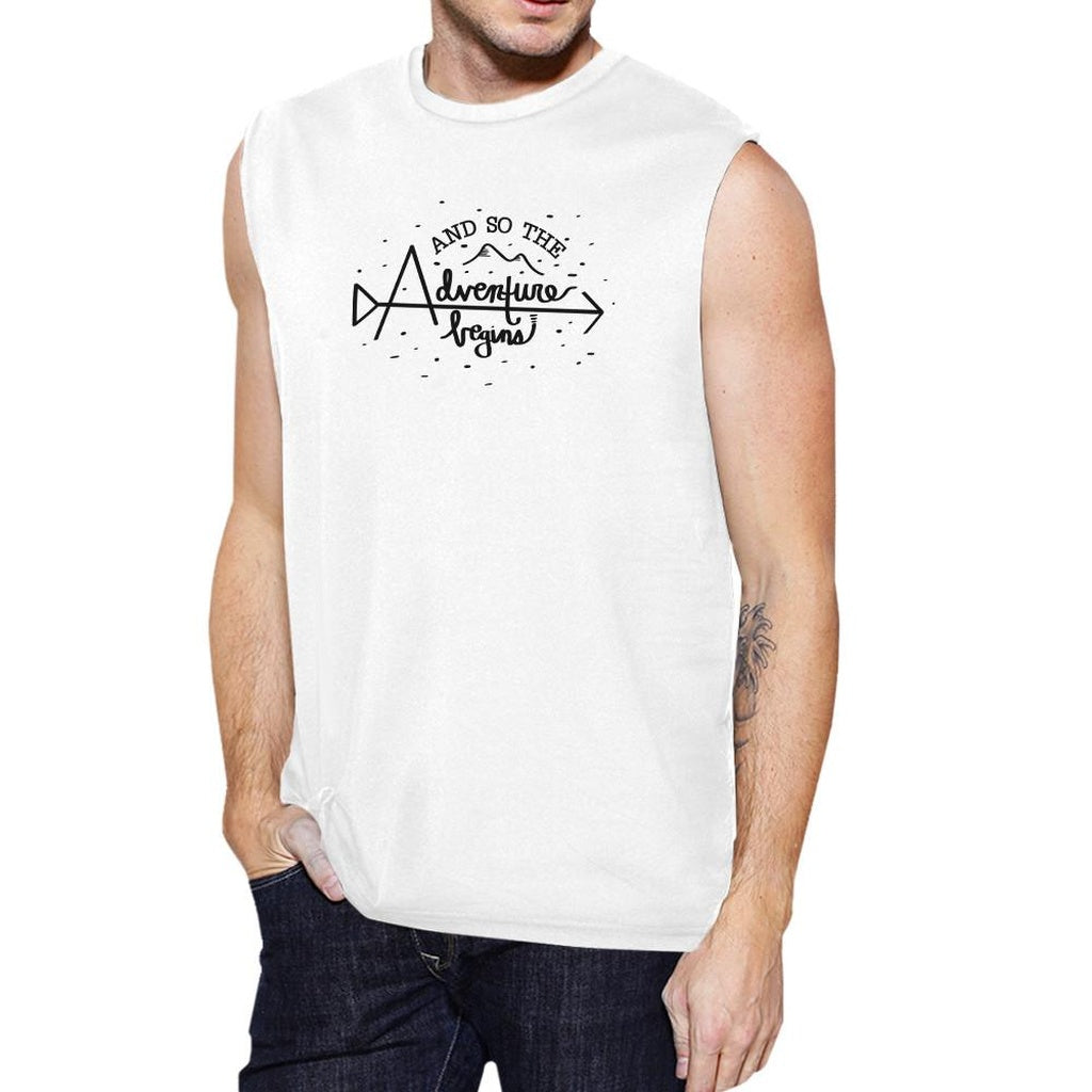 And So The Adventure Begins Mens White Muscle Top
