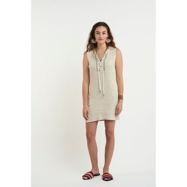 Bells Hooded Dress in Sand