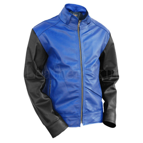 Men Blue Genuine Leather Jacket