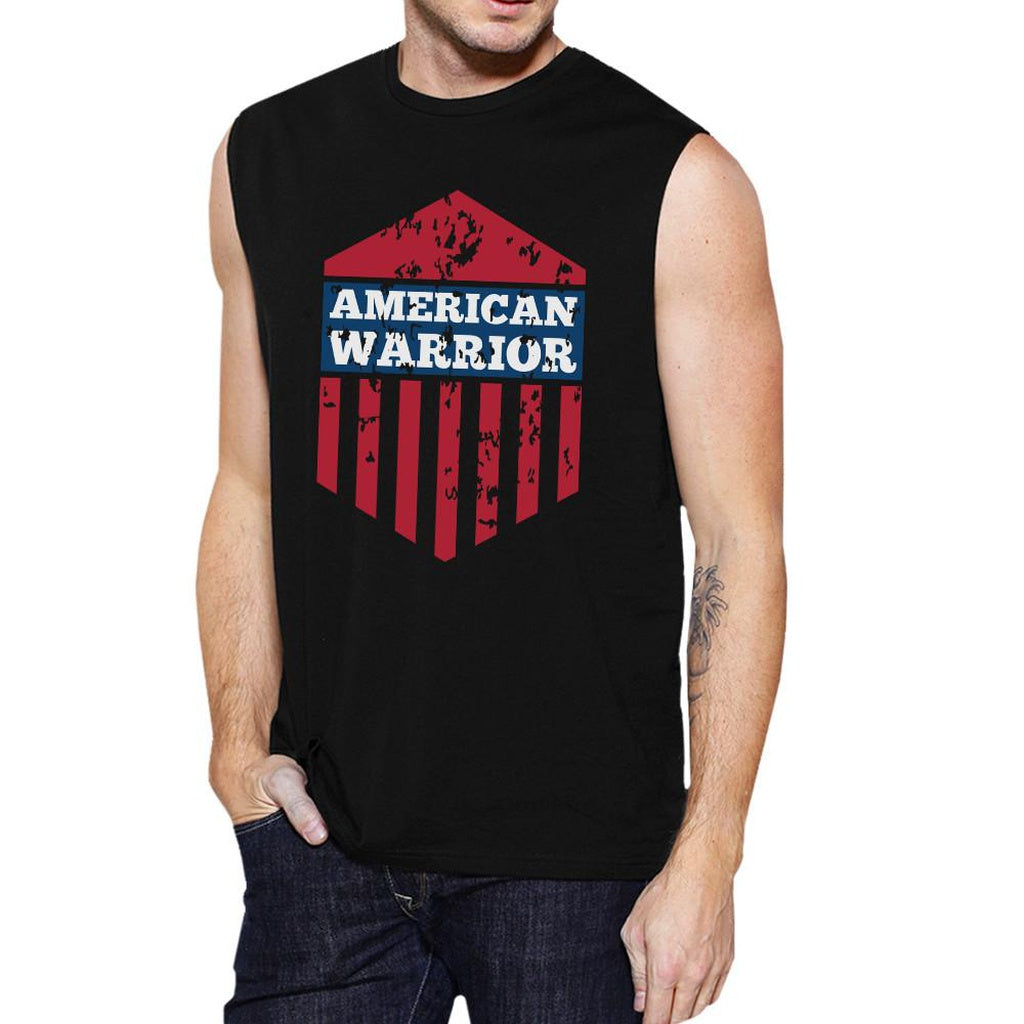 American Warrior Black Crewneck Cotton Graphic Muscle Tanks For Men