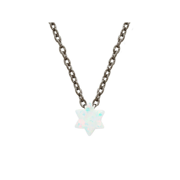 "925 Black Rhodium Plated Silver Mini Opal Stone Star of David Necklace, 15"" + 2""ext"