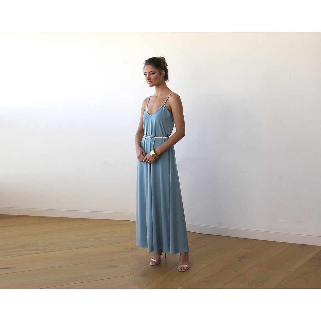 Aqua Blue Maxi dress with thin straps 1026