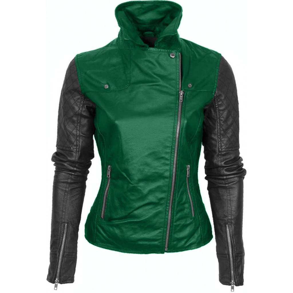 Women Green Leather Jacket