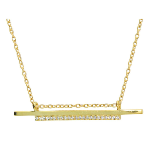 "Double Sideways Cz Flashbar Necklace in Gold Plated Sterling Silver, 15.5"" + 2"" Extender"