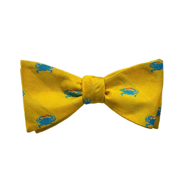 Crab Bow Tie - Yellow, Woven Silk