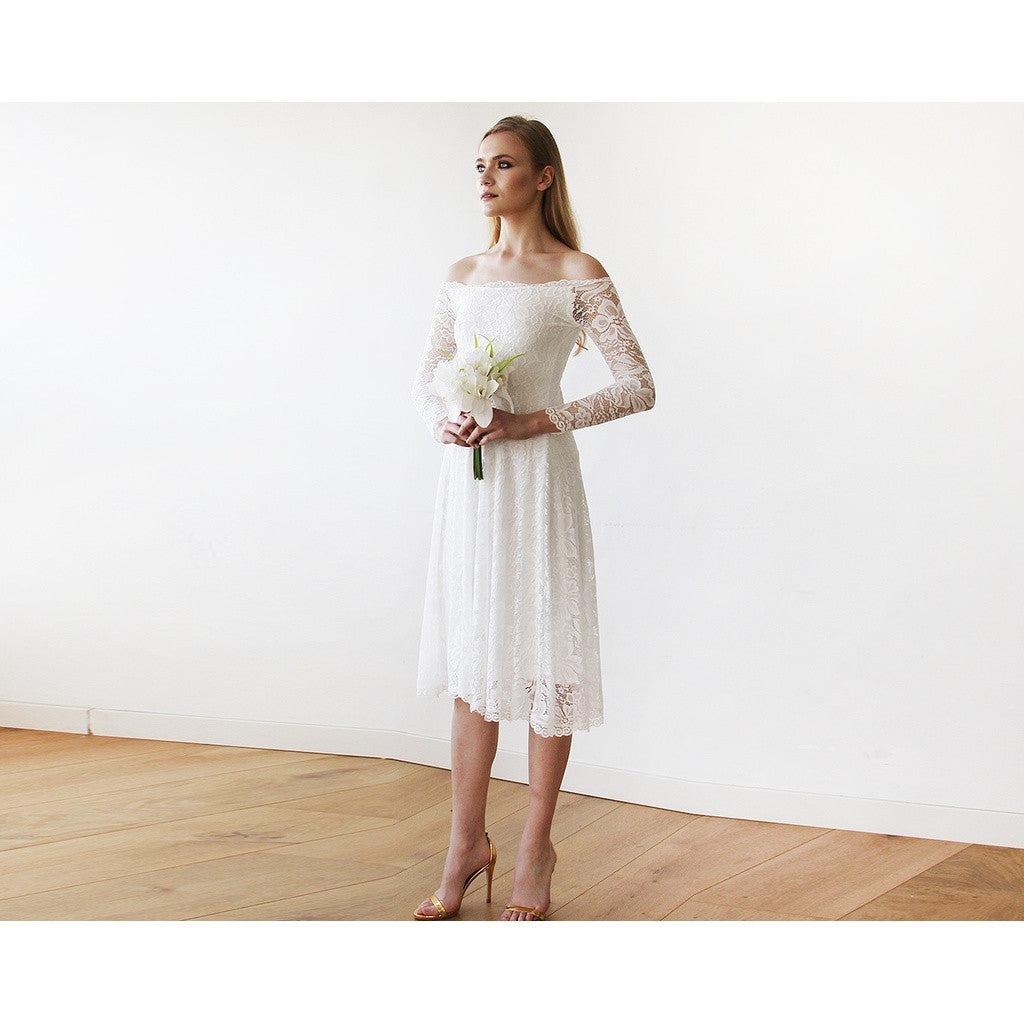 Ivory Off-The-Shoulder Floral Lace Long Sleeve Midi Dress 1149 - www.ettuet.com