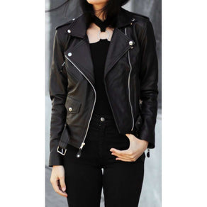 Women Black Handmade Leather Jacket