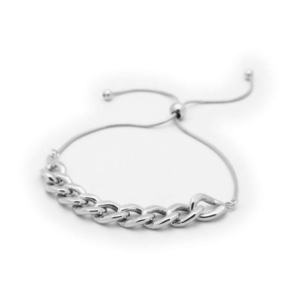Sterling Silver Rounded Cuban Link Chain Bracelet, Adjustable