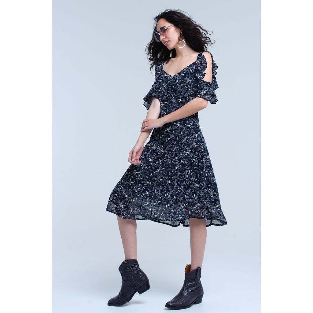Navy blue midi dress with frill details in floral print