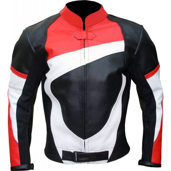 Black Red White Biker Leather Jacket
