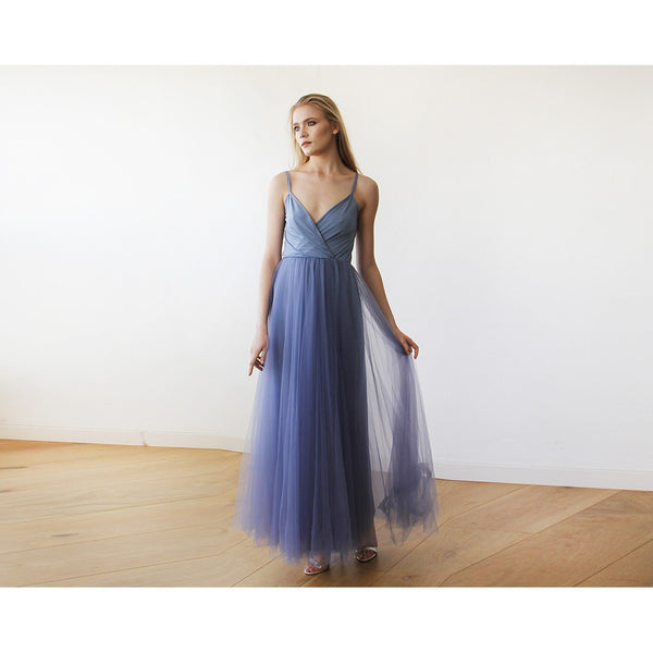 Dusty Blue Straps Maxi Tulle Dress 1053 - www.ettuet.com