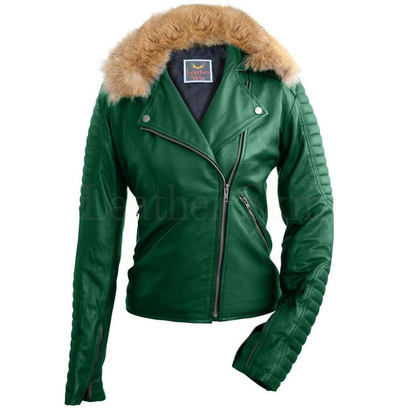 Women Green Fox Biker Leather Jacket