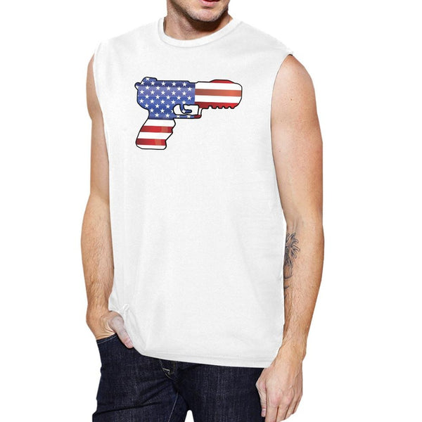 American Flag Pistol Mens Muscle Tee Unique Gift For Gun Supporters