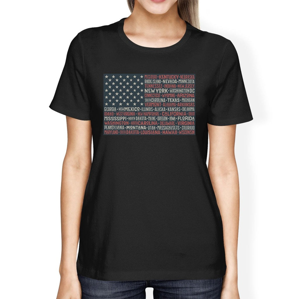 50 States US Flag American Flag Shirt Womens Black Cotton T-Shirt