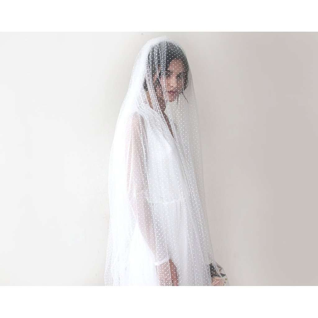 wedding Veil, chapel length veil, dots tulle veil, train length veil 4020